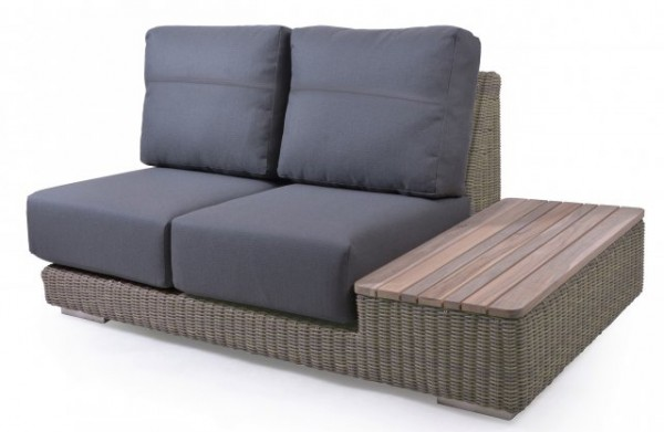 4Seasons Outdoor Kingston modular 2 Sitzer Teak-Insel links, inkl. 4 Kissen, pure/grau