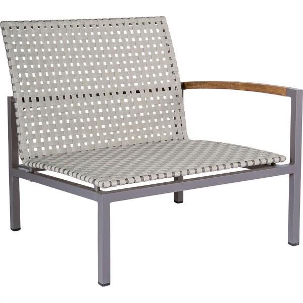 STERN Lounge-Seitenelement Lucy Aluminium taupe mit Gurtbespannung natur und Teakarmlehne rechts
