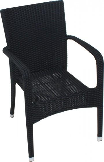 Polyrattan Stapelstuhl LONDON Aluminium schwarz