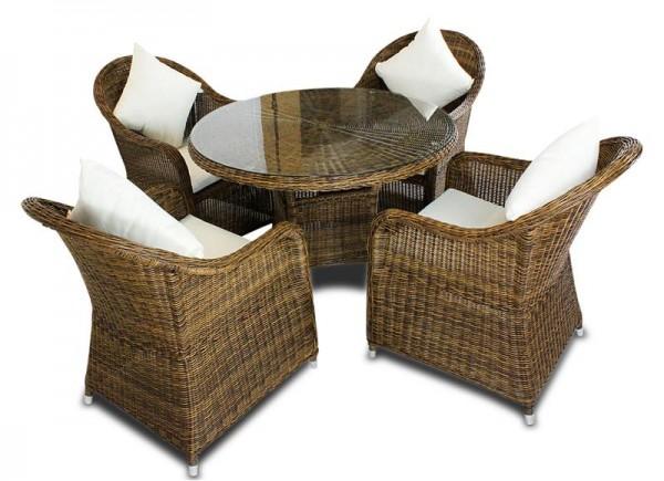 Polyrattan Tischset 4013 braun von GARINO®