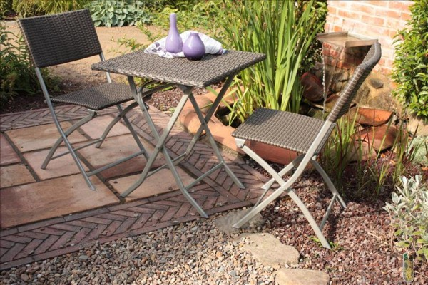 Polyrattan Balkonset PATIO coffee