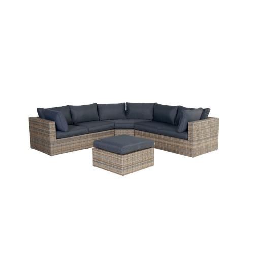 GARDEN Impressions Menorca Lounge Set 4-tlg hav. sand L-shape/ refl. black