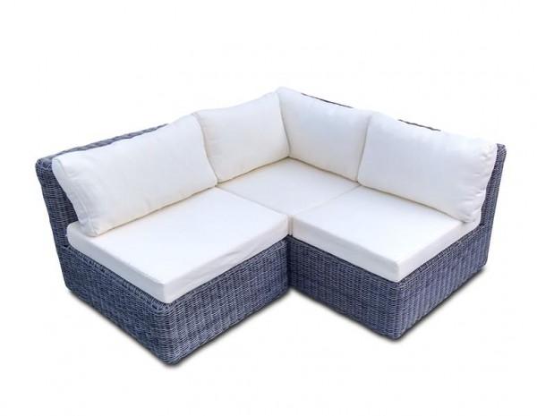 Polyrattan Lounge Set Skyline S ohne Tisch grau von GARINO® Premium