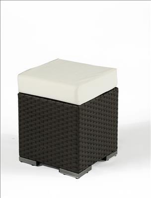 Polyrattan Hocker klein braun von GARINO® Premium