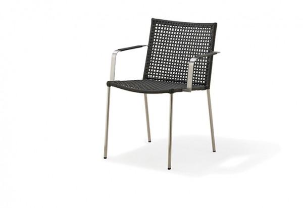 Cane-line Straw Stuhl mit Armlehne, schwarz