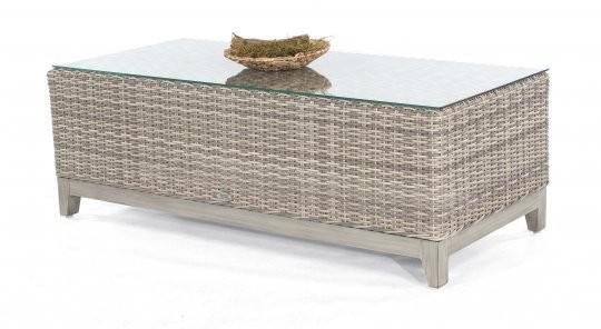 """Lounge-Tisch """"Thor"""" 130x60 cm Alu/Kunststoffgeflecht white-coral, mit Glasplatte von SonnenPartner"""