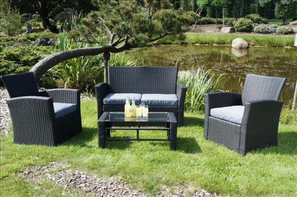 Polyrattan Sofa-Set OXFORD schwarz