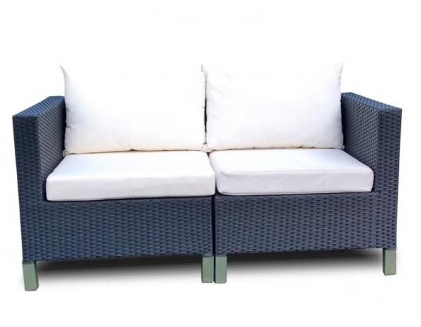 Polyrattan 2-Sitzer Bank Esshöhe braun von GARINO® Premium