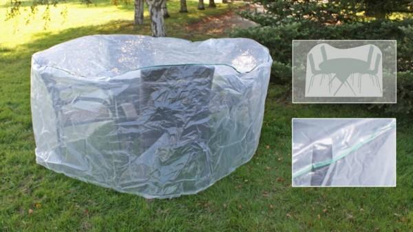 Schutzhaube für 4 Stapelstühle und 1 runden Tisch transparent