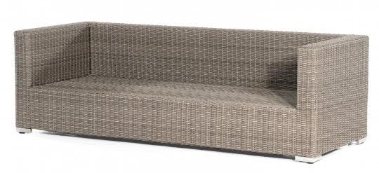 "Lounge-3-Sitzer Sofa ""Residence"" Kunststoffgeflecht stone-grey Aluminium-Gestell SonnenPartner"