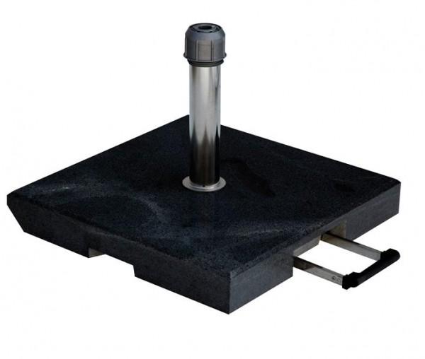 Granitständer 55 kg schwarz-grau 55 x 55 cm, mit Rollen 25-55mm und Komfortgriff, Edelstahrohr mit Überwurfmutter von SonnenPartner (8477-376-172)