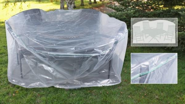 Schutzhaube für 6 Hochlehner und 1 ovalen Tisch transparent
