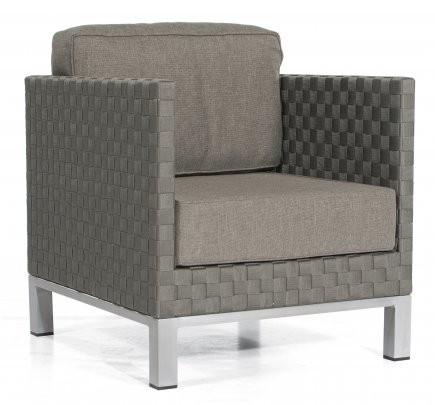 "Lounge-Sessel ""Titan"" Alu/Gurtbespannung grau, inklusive Kissen von SonnenPartner"