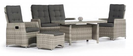 Lounge-Set Roseville Aluminiumgestell / Kunststoffgeflecht grey-white incl. Kissen