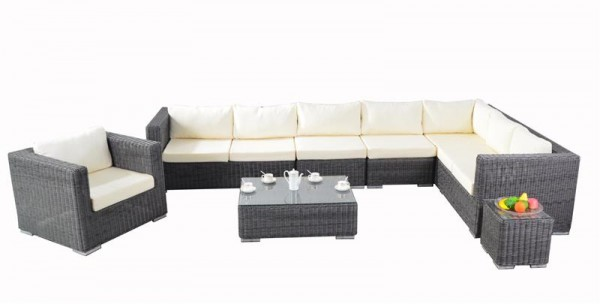 Polyrattan Lounge Set Skyline grau von GARINO® Premium Ausstellungsstück