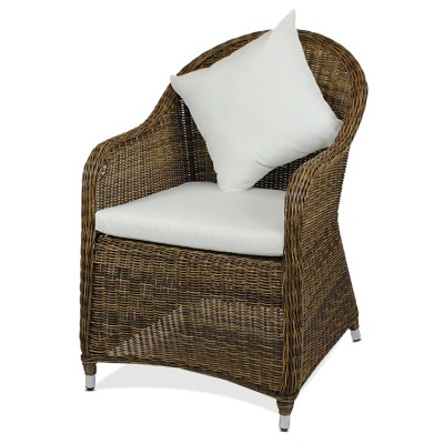 Polyrattan Stuhl 4012 Rundrattan von GARINO® Premium, braun ohne Rückenkissen