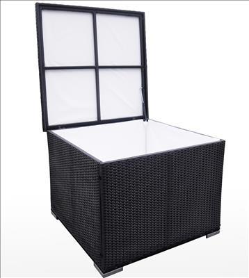 Polyrattan Kissenbox 2012 schwarz von GARINO® Premium Ausstellungsstück