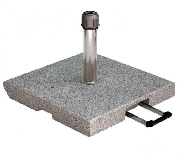 Granitständer 55 kg grau 55 x 55 cm, mit Rollen 25-55 mm und Komfortgriff, Edelstahlrohr von SonnenPartner